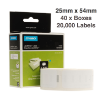 40 x Dymo Label Roll 25mm x 54mm (20,000 labels)