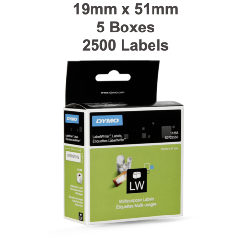 5 x Label Rolls 19mm x 51mm (2,500 labels in total)